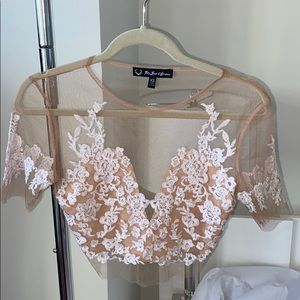 For Love and Lemons White Lace Floral Luau Top
